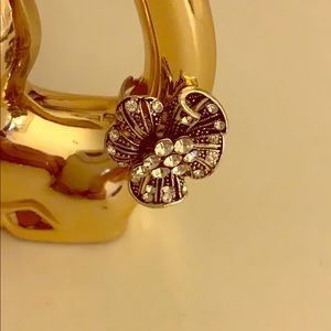 Silver flower statement ring-7.5